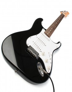 Fender black Squier electric guitar